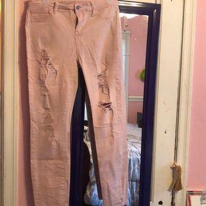 Denim - Distressed Pink Skinny Jeans
